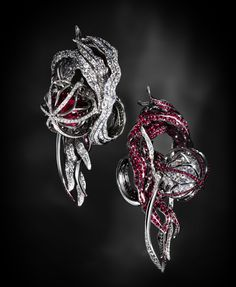 Jack du Rose Jellyfish white gold, ruby, and diamond earrings.
