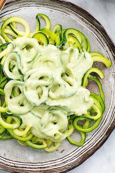 Tender spiralized zucchini tossed with a quick cilantro lime avocado sauce. | Creme de la Crumb