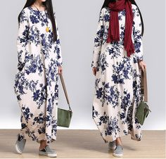 women casual loose dress cotton linen maxi dress plus size clothing long maxi dress-Buykud