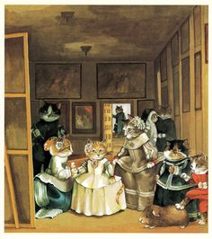 cat-art-las-meninas Cat lovers and art enthusiasts, this one is for you: Here are the cat art masterpieces that classical art was missing. Fancy Cats, Cat Art Print, Classical Art, Vintage Cat, Cat Drawing, Art Plastique, Animal Paintings, Crazy Cats, Art World
