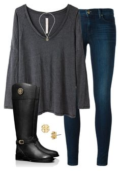 """""""Back in black"""" by elizabethjamesw ❤ liked on Polyvore featuring J Brand, Raquel Allegra and Tory Burch"""