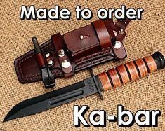 Ka-bar Leather sheath Made to order Survival Knife, Survival Gear, Survival Prepping, Emergency Preparedness, Knife Sheath, Ka Bar Knives, Wood Gifts, Paracord Bracelets, Tactical Gear