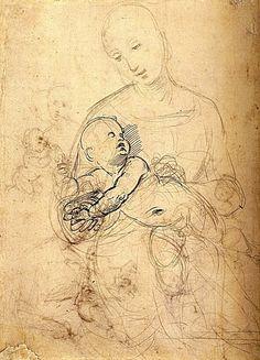 Raphael (Raffaello Sanzio) (1483-1520)    Studies of The Virgin and Child, 1507  Pen and brown Ink 26,2x19 cm   British Museum