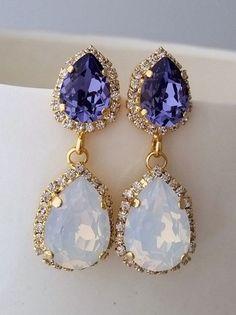 White opal and purple tanzanite Crystal chandelier earrings by EldorTinaJewelry . Bridesmaid Earrings, Bridal Earrings, Wedding Jewelry, Dangle Earrings, Chandelier Earrings, Tanzanite Earrings, Big Chandelier, Vintage Chandelier, Crystal Earrings