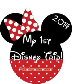 My First Disney Trip Minnie like Mouse  Iron on by TheIronTractor, $5.00. Adorable for a shirt to celebrate going to Disney