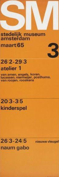 Exhibition Program Poster 3, Stedelijk Museum, Amsterdam., 1965