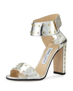 JIMMY CHOO Veto Studded Leather 100Mm Sandal, Silver/Gold. #jimmychoo #shoes #sandals
