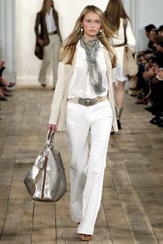 RL Spring  Runway.fab white beige and silver look fashion #Fashion