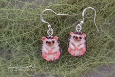 Who is crazy about hedgehogs? For sure I am.. :)  Cute little hedgehogs earrings :) I made those hedgehogs from polymer clay, entirely by hand,