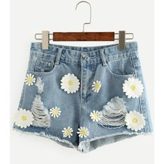 Blue Flower Appliques Ripped Denim Shorts (130 DKK) ❤ liked on Polyvore featuring shorts, blue shorts, destroyed shorts, torn shorts, distressed shorts and denim short shorts