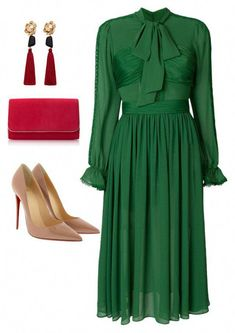 A fashion look from February 2018 featuring green dress, christian louboutin shoes and red purse. Browse and shop related looks. Church Attire, Church Outfits, Look Fashion, Autumn Fashion, Womens Fashion, Fashion Trends, Mango Fashion, Classy Outfits, Cute Outfits