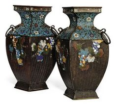 Phenomenal! Pair of Japanese Cloisonne' enamel vases from Meiji Period 1868-1912
