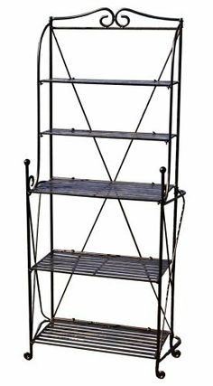 PTC Home & Garden Folding Baker's Rack, Black by PTC. $135.63. Dimensions of the top two shelves are 21 wide by 6 deep.   The dimensions of the bottom three shelves are 21 wide by 11 deep. Product that has been manufactured from recycled wrought iron. Product has been powder-coated for year round weather resistance for use both indoors and outdoors. Requires no tools for assembly or break down. With the flip of your wrist this sturdy wrought iron, handmade baker's...
