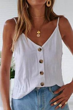 Tank Top For Women Ladies White Tops Sparkly Tops For Women Brocket Blouse Singlet Top Short Outfits, Chic Outfits, Pretty Outfits, Summer Outfits, Summer Shorts, Hollister Outfit, Tank Top Outfits, Hijab Outfit, Capsule Wardrobe