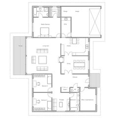 Modern house with vaulted ceiling in the living area. Covered terrace, four bedrooms. Spacious interior.