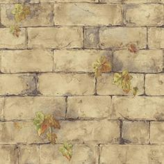 The Wallpaper Company, 56 sq. Beige Ivy and Brick Wallpaper, at The Home Depot - Tablet Background Pictures, Paper Background, Bedroom Wallpaper Beige, Bathroom Wallpaper, Brick Wallpaper Samples, Stone Wallpaper, Wallpaper Patterns, Papel Scrapbook, Scrapbooking