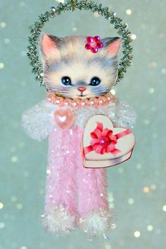Vintage Style Chenille Pipe Cleaner Stem * DIY Valentine's Day Kitten * Ornament Inspiration