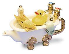 The TeaPottery Bath Teapot. #Teapot #Collectible #Decor #Gift #gosstudio .★ We recommend Gift Shop: http://www.zazzle.com/vintagestylestudio ★