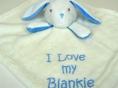 My Baby Blue White Bunny Rabbit Security Lovey Blanket I Love My Blankie Soft #MyBaby