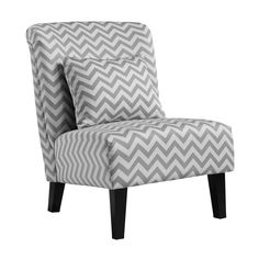 Anna Grey/ White Chevron Accent Chair | Overstock.com