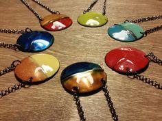 Delicious colors! Foldformed enamel necklaces by Karen Smith Metalwear  www.ksmetalwear.com