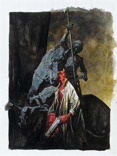 Mike Mignola signed original Hellboy illustration.
