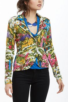 HWR Monogram Floral Sweater Blazer Med on Mercari Floral Cardigan, Floral Blazer, Sweater Outfits, Sweater Cardigan, Anthropologie, My Wardrobe, Fashion Beauty, Clothes For Women, My Style