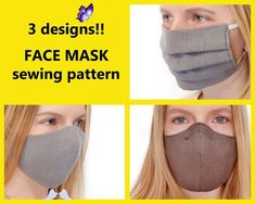 3 PDF FACE MASK Pattern for Adults with Filter Pocket and Nose Wire - Washable Non Medical Mask 3 PDF FACE MASK Pattern for Adults with Filter Pocket and Nose | Etsy<br> Easy Face Masks, Diy Face Mask, Nose Mask, 3 Face, Super Sets, Easy Sewing Patterns, Pattern Sewing, Sewing Tutorials, Sewing Projects
