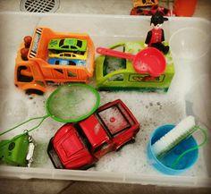 Sensory play car wash