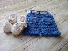 Custom Crochet Newborn Baby Girl Blue Jeans by CricketCreations, $40.00