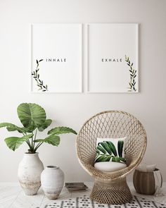 Inhale Exhale Printable Wall Art, Modern Wall Art, Instant Download, PDF download, Inhale Exhale Wall Decor, Download PDF wall Printable, Greenery, Foliage, Minimalistic wall Decor, Herb, Watercolor Green Leaf Wall Art
