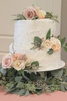 Blush Cake Flowers: quicksand roses, white Majolica spray roses, blush stock, pink rice flowers, blushing bride protea, seeded eucalyptus  //Celebration Flair