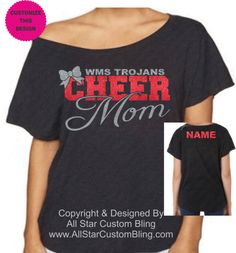 This custom Cheer Mom design is put on a super soft & comfy dolman shirt. You can choose the two glitter colors of your choice. This design comes with a nam