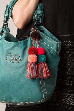 / Bag charm / Bag decor / handmade colorful pom pom tassel Charms / Mexican Pom … - Famous Last Words Pom Pom Crafts, Yarn Crafts, Diy Tassel, Tassels, Pom Pom Purse, Pom Pom Bag Charm, Crochet Patterns For Beginners, Button Crafts, Craft Stick Crafts