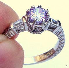 10k White Gold Kunzite White Sapphire Ring by JanesGemCreations