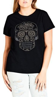 Plus Size Women's City Chic Skull Embellished Tee
