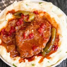 Turn inexpensive steak into tenderCrockpot swiss steak. This slow cooker meal tastes like you spent all day in the kitchen but took minutes to prepare. Crockpot Swiss Steak Recipes, Minute Steak Recipes, Chuck Steak Recipes, Crockpot Dishes, Slow Cooker Recipes, Crockpot Recipes, Cooking Recipes, Slow Cooking, Beef Dishes