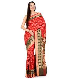 Red Silk Jacquard Saree with Zari Border | Fabroop USA | Store for Trendy Sarees