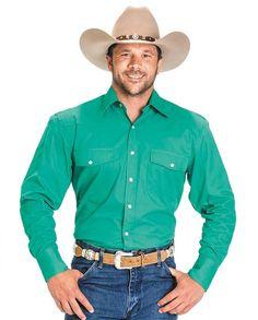 Drysdales Men's Kelly Green Twill Long-Sleeve Westerm Shirt