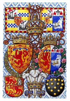 The Arms of the Duke and Duchess of Rothesay, by M. Dennis (the Rothesay title is used by the Prince and Princess of Wales when in Scotland)