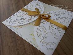 Convite Rendado Casamento 15 anos | Artes da Li by Eliana Gomes | Elo7