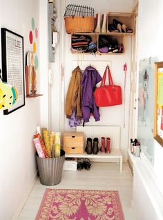 Wonderful 63 Clever Hallway Storage Ideas : 63 Clever Hallway Storage Ideas With White Wall Wooden Door Storage Red Bag Purple Brown Jacket Red Carpet Hardwood Floor Hallway Storage, Door Storage, Storage Cabinets, Garage Storage, Wooden Crates, Wooden Doors, Hallway Decorating, Entryway Decor, Bright Hallway