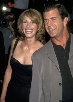 "Julia Roberts and Mel Gibson attend the world premiere of ""Conspiracy Theory"", 1997."