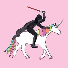 Darth Vader riding a Unicorn