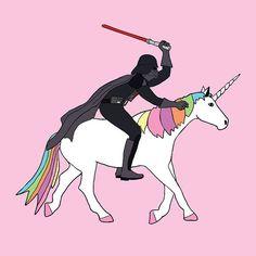 Darth Vader riding a Unicorn