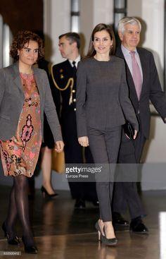 Queen Letizia of Spain (R) and Dolors Montserrat (L) attend the forum against cancer 'Por un enfoque integral' at  Espacio Fundacion Telefonica on February 2, 2017 in Madrid, Spain.  (Photo by Europa Press/Europa Press via Getty Images)