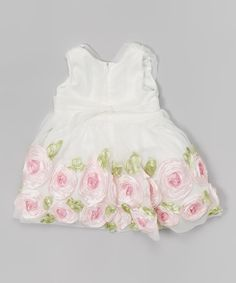 White & Pink Rosette Dress - Infant | zulily