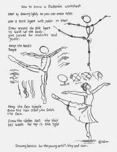How to Draw Worksheets for The Young Artist: How To Draw A Ballerina On One Toe Worksheet. Free Printable Drawing Lesson