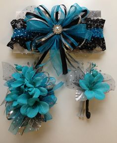 Turquoise prom corsage and matching prom garter.  Letsdancegarters.com