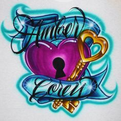 Airbrush T Shirt Couples Key To My Heart Two Names, Airbrush Couples Shirt…